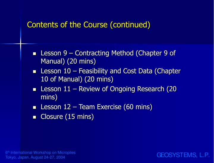 Contents of the Course (continued)