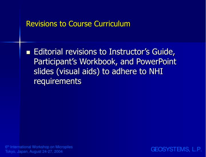Revisions to Course Curriculum