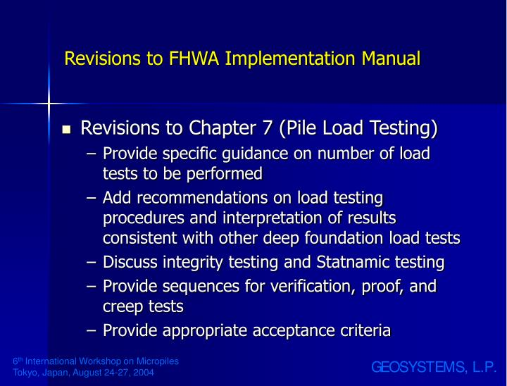 Revisions to FHWA Implementation Manual