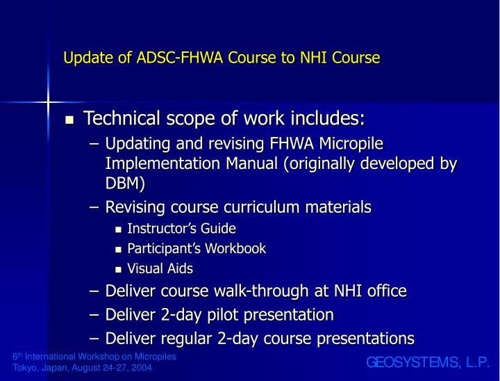 Update of ADSC-FHWA Course to NHI Course