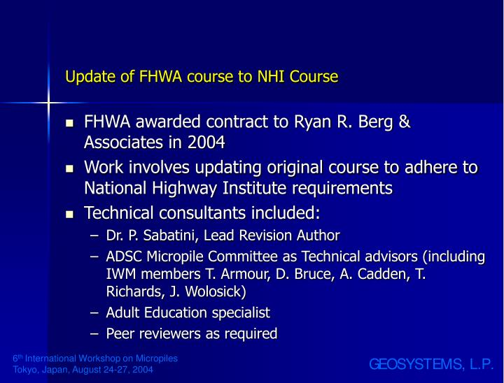 Update of fhwa course to nhi course