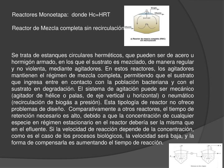 Reactores Monoetapa:  donde