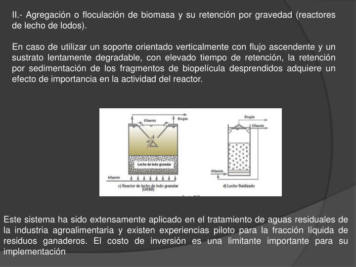 II.- Agregación o floculación de biomasa y su retención por gravedad (reactores de lecho de lodos).