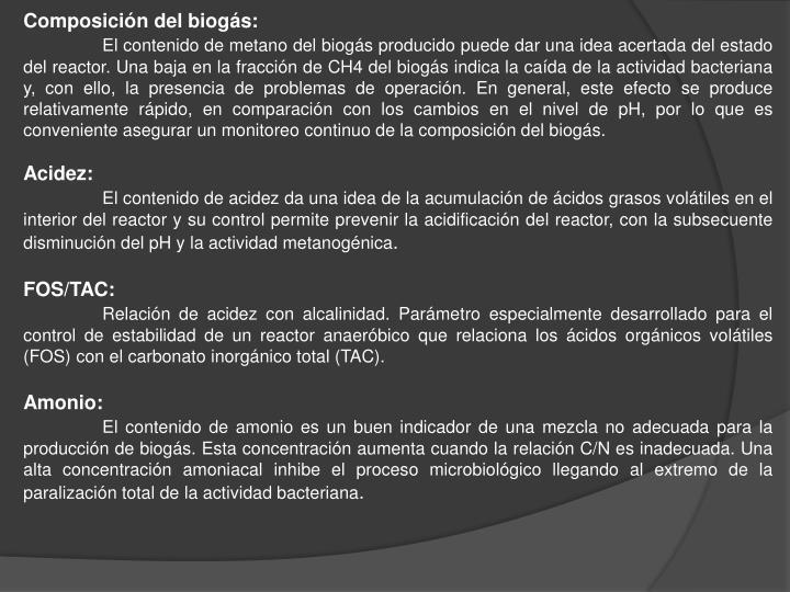 Composición del biogás: