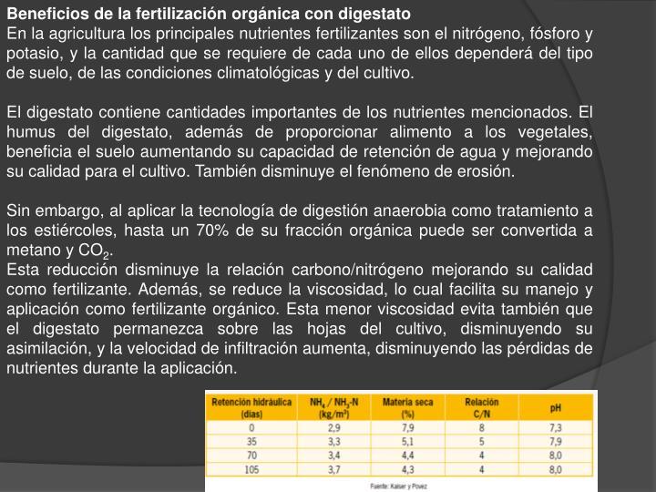 Beneficios de la fertilización orgánica con digestato
