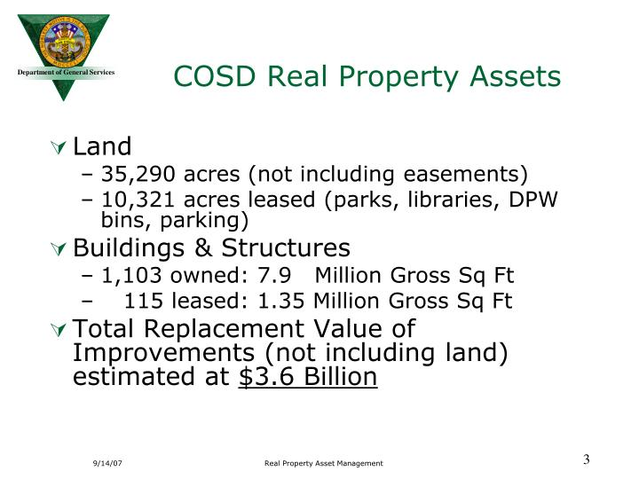 COSD Real Property Assets