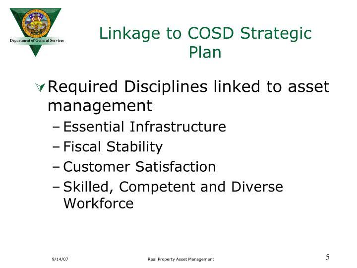 Linkage to COSD Strategic Plan