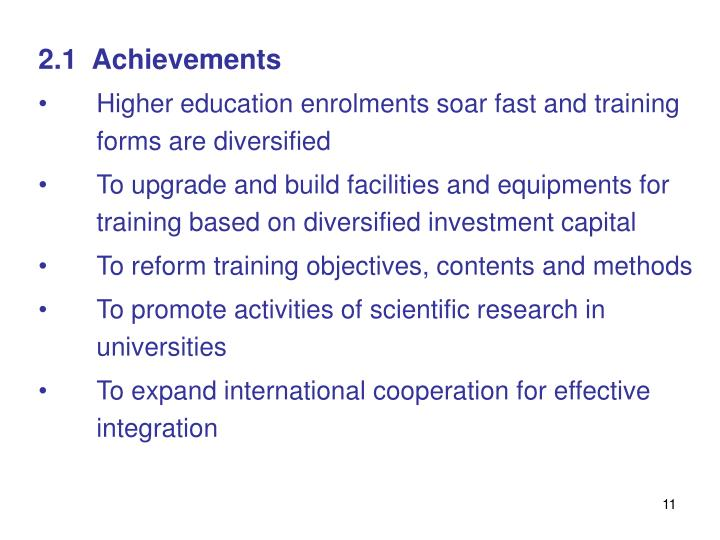 2.1  Achievements