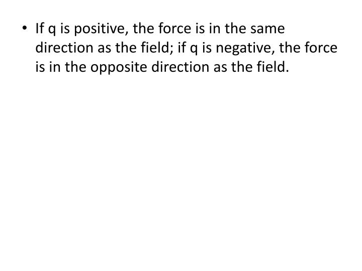 If q is positive, the force is in the same direction as the field; if q is negative, the force is in the opposite direction as the field.