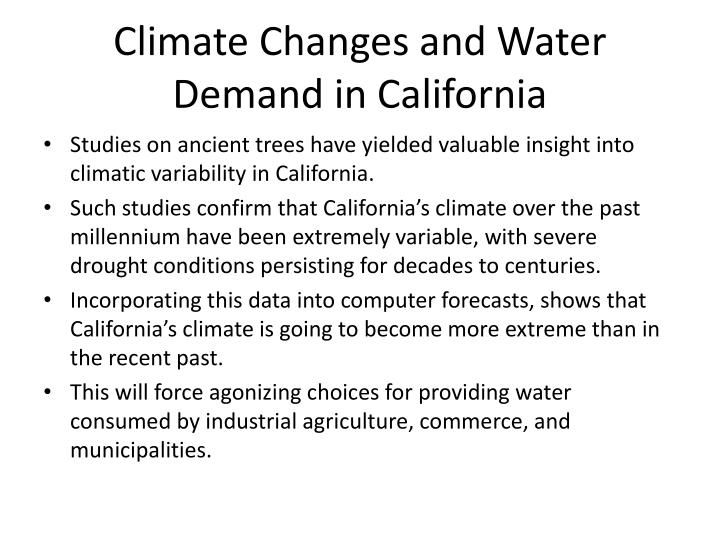 Climate Changes and Water Demand in California