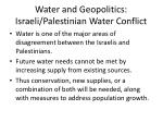 water and geopolitics israeli palestinian water conflict