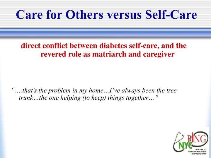 Care for Others versus Self-Care