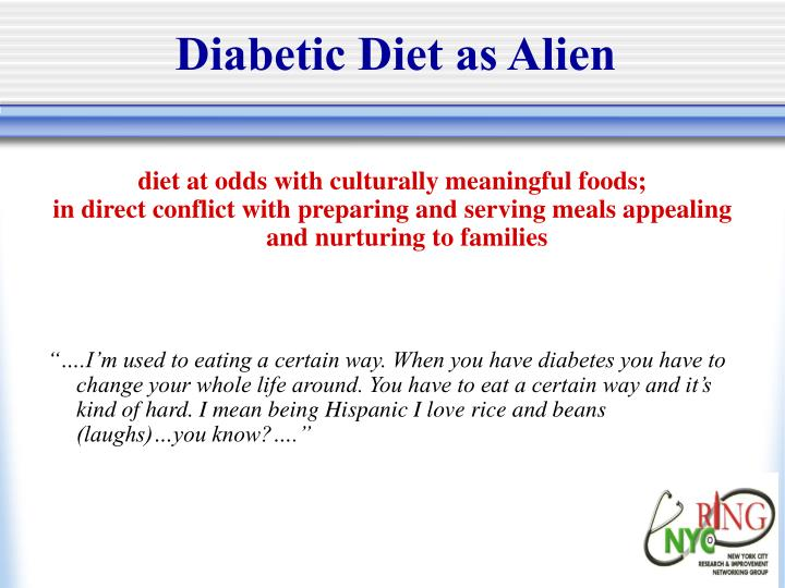Diabetic Diet as Alien