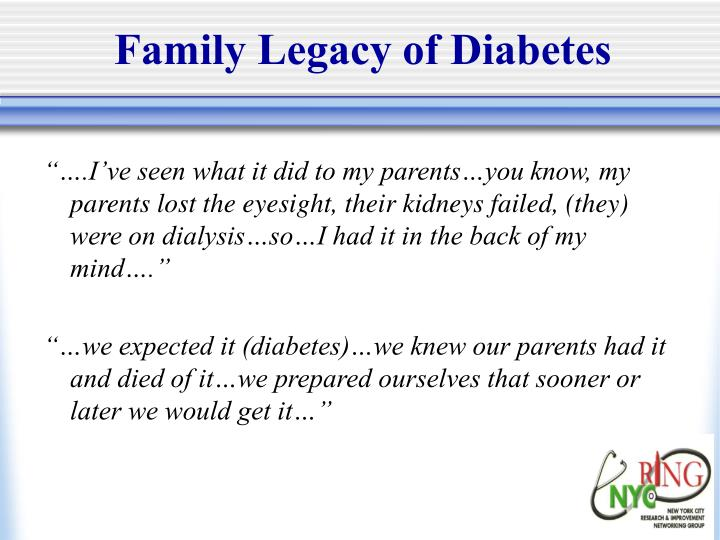 Family Legacy of Diabetes
