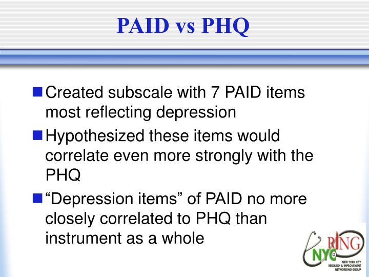 PAID vs PHQ