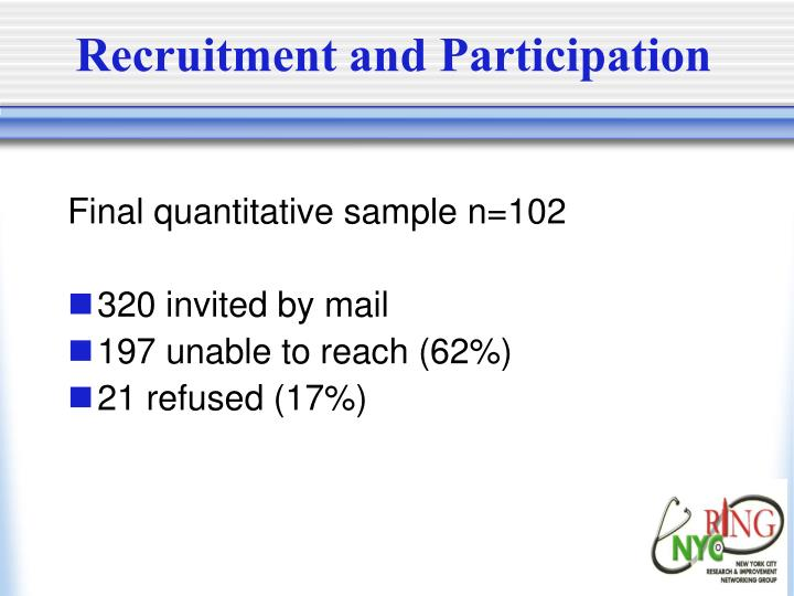 Recruitment and Participation