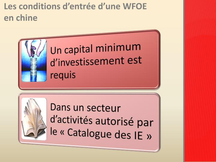 Les conditions d'entrée d'une WFOE