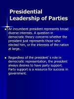 presidential leadership of parties