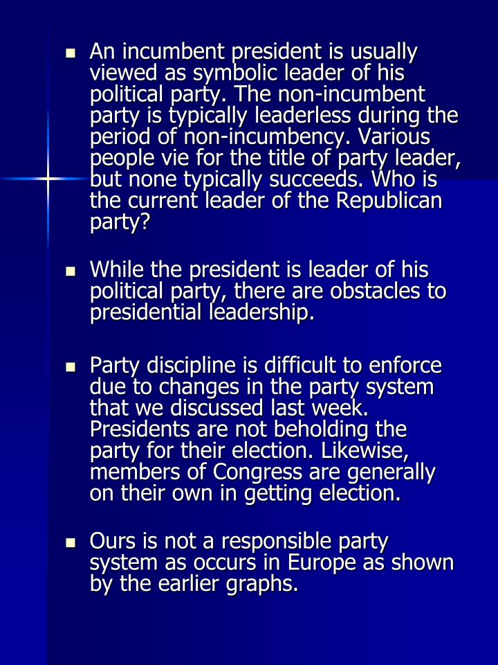 An incumbent president is usually viewed as symbolic leader of his political party. The non-incumbent party is typically leaderless during the period of non-incumbency. Various people vie for the title of party leader, but none typically succeeds. Who is the current leader of the Republican party?