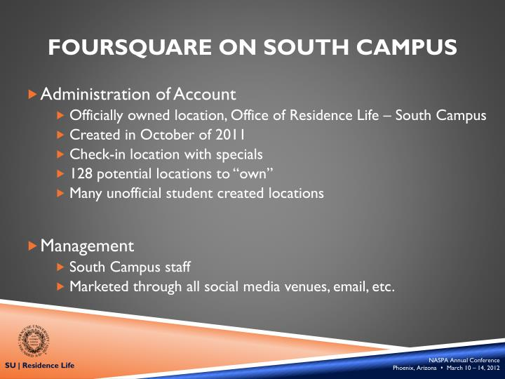 Foursquare on south campus