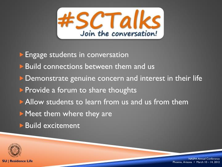 Engage students in conversation