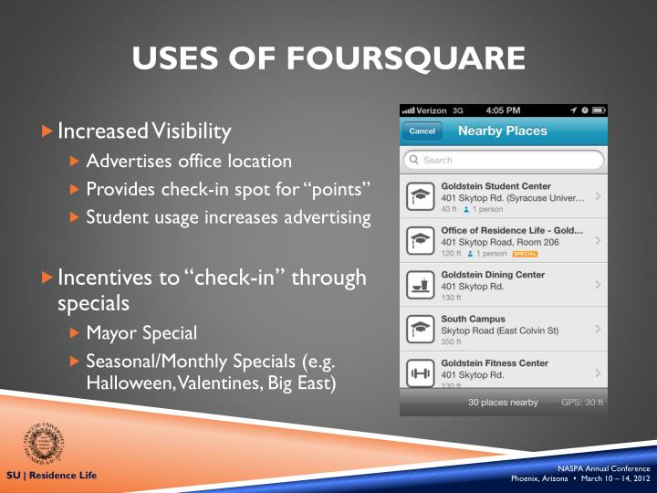 Uses of foursquare