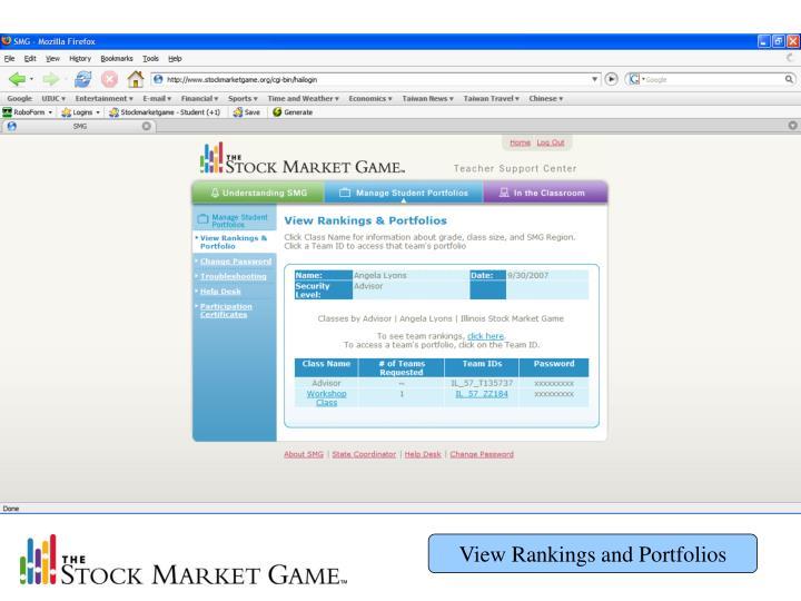 View Rankings and Portfolios