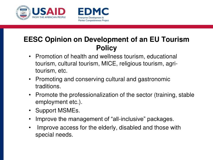 EESC Opinion on Development of an EU Tourism Policy