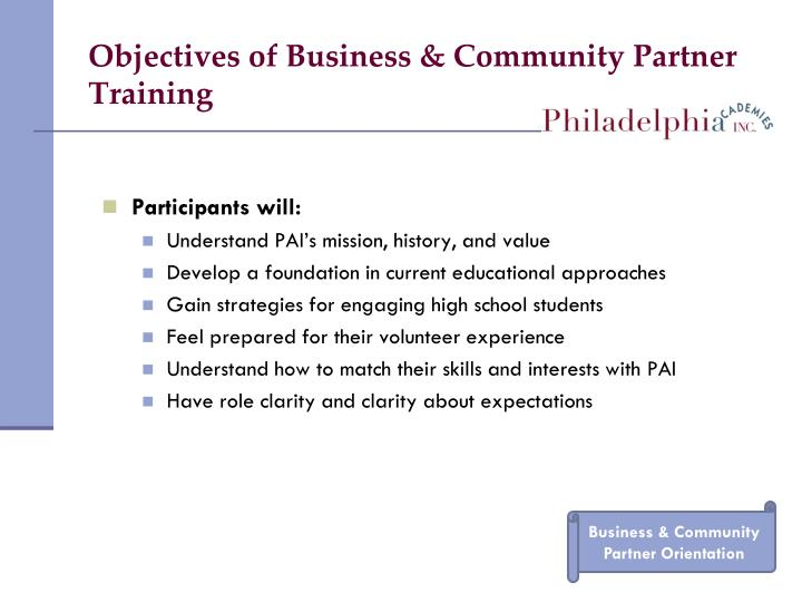 Objectives of Business & Community Partner Training