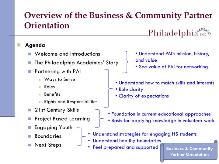 Overview of the Business & Community Partner Orientation