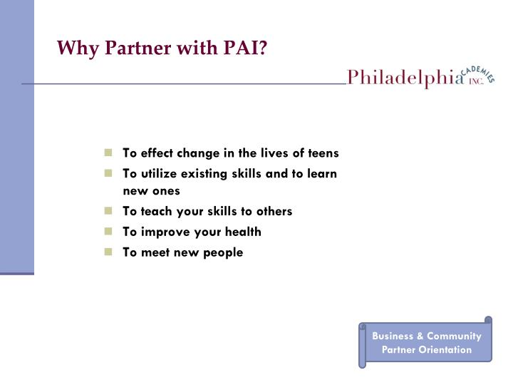 Why Partner with PAI?