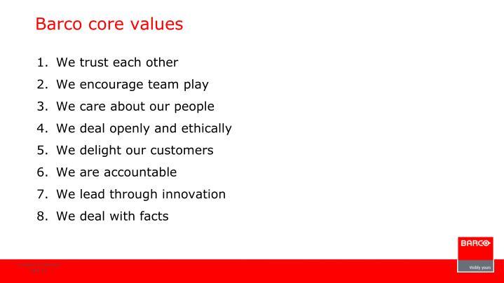 Barco core values