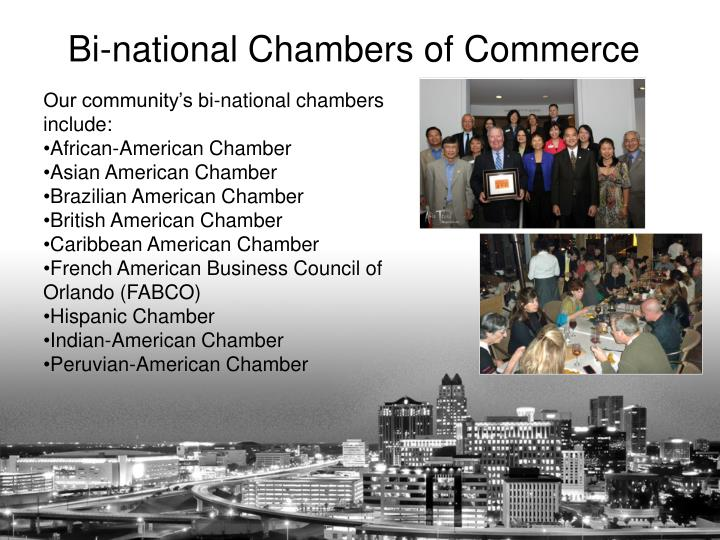 Our community's bi-national chambers include: