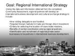 goal regional international strategy