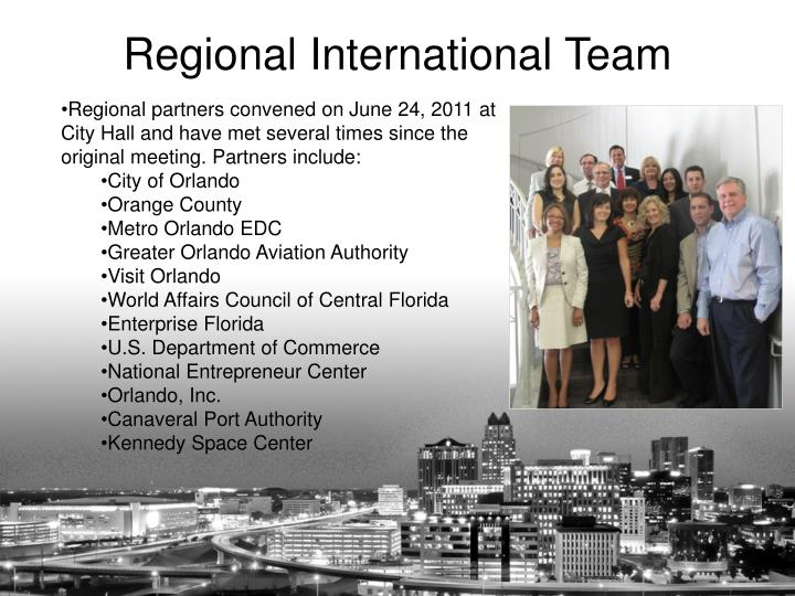 Regional partners convened on June 24, 2011 at City Hall and have met several times since the original meeting. Partners include:
