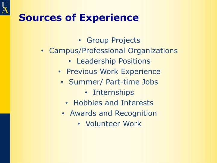 Sources of Experience