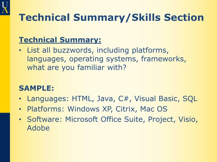 Technical Summary/Skills Section