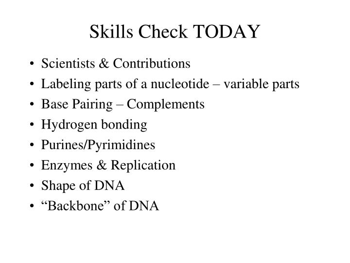 Skills Check TODAY