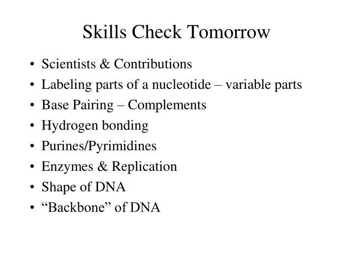 Skills Check Tomorrow