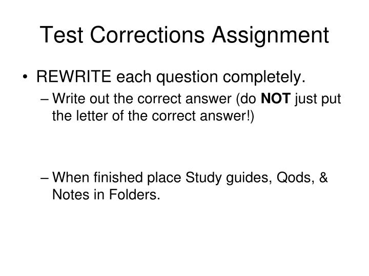Test corrections assignment