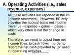 a operating activities i e sales revenue expenses