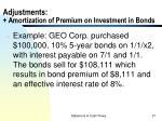 adjustments amortization of premium on investment in bonds