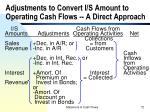 adjustments to convert i s amount to operating cash flows a direct approach