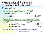 amortization of premium on investment in bonds contd