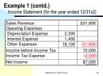 example 1 contd income statement for the year ended 12 31x2