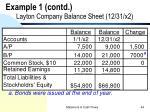 example 1 contd layton company balance sheet 12 31 x2