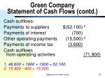 green company statement of cash flows contd