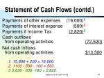 statement of cash flows contd