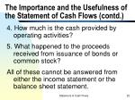 the importance and the usefulness of the statement of cash flows contd1