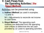v cash flows from the operating activities the direct method